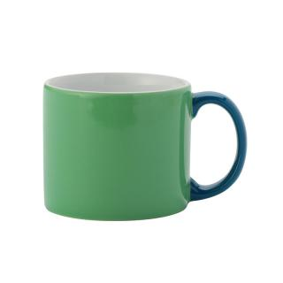 MY MUG M GREEN HANDLE BLUE