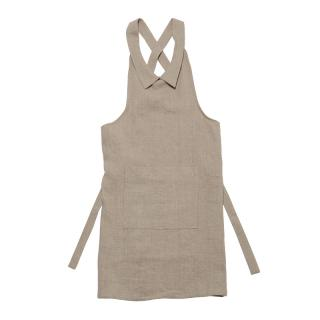 DRESS COLLAR APRON NATURAL LINEN