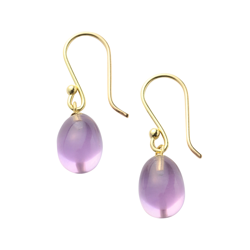 NATURAL FORMS EGG EARRINGS S AMETHYST