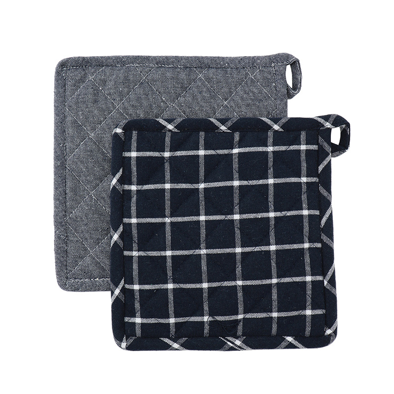 HEREN MOORE REVIVAL POT HOLDERS: OCEAN (PLAIN&CHECK)