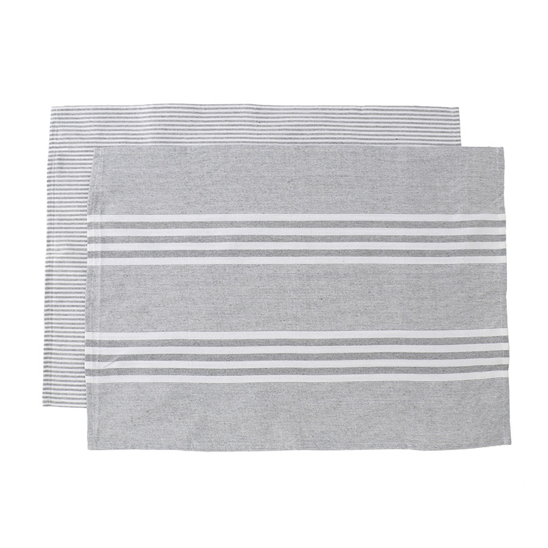 HEREN MOORE REVIVAL TEA TOWELS: LIGHT GREY STRIPE (PAIR)