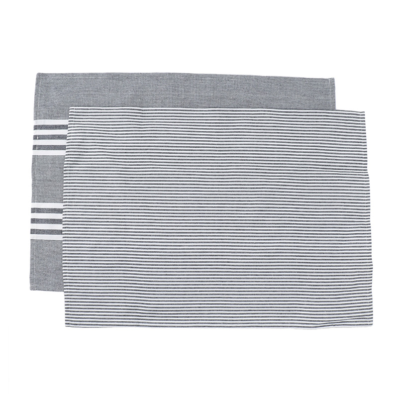 HEREN MOORE REVIVAL TEA TOWELS: BLUE STRIPE (PAIR)
