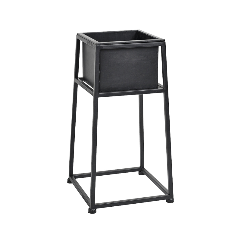 8835NORDAL Iron planter stand black