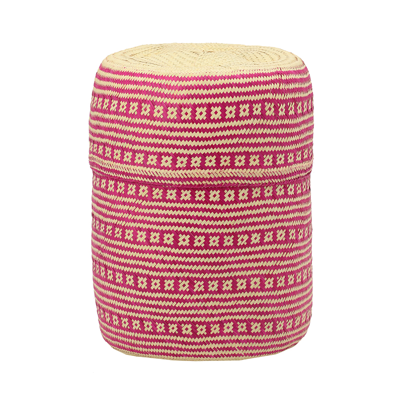 PI PRJCT Pink lidded palm basket
