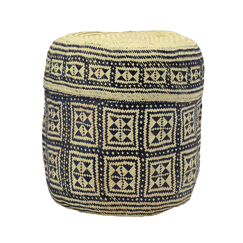 PI PRJCT Navy lidded palm basket