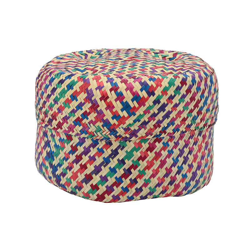 PI PRJCT Multicolor lidded palm basket small