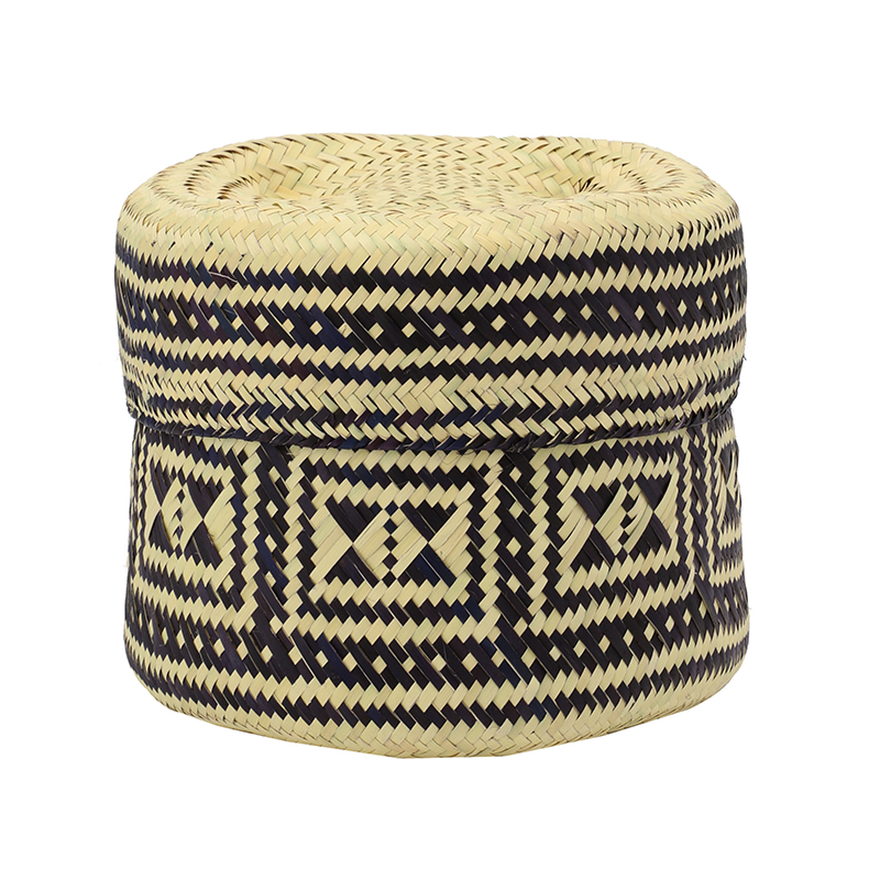 PI PRJCT Navy lidded palm basket small