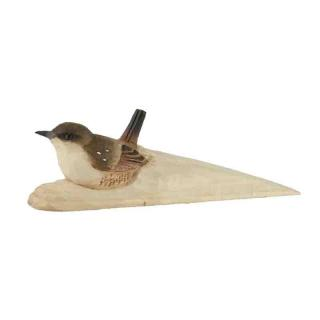 WG587WILDLIFEGRD carved doorstop wren