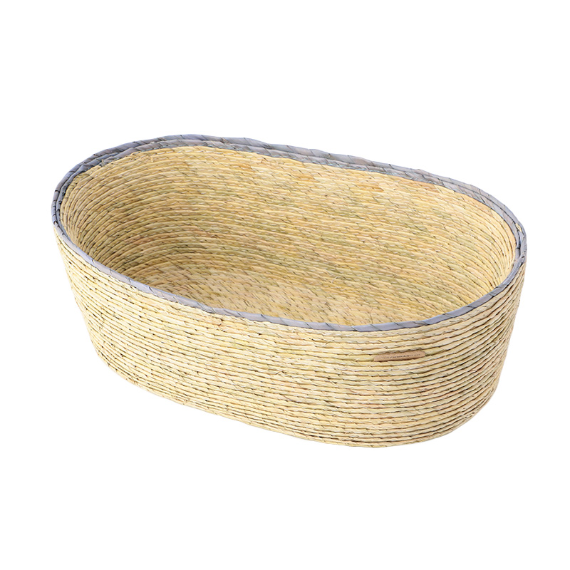 MAKAUA RIM OVAL BASKET BLUE/NATURAL 25X15X9CM