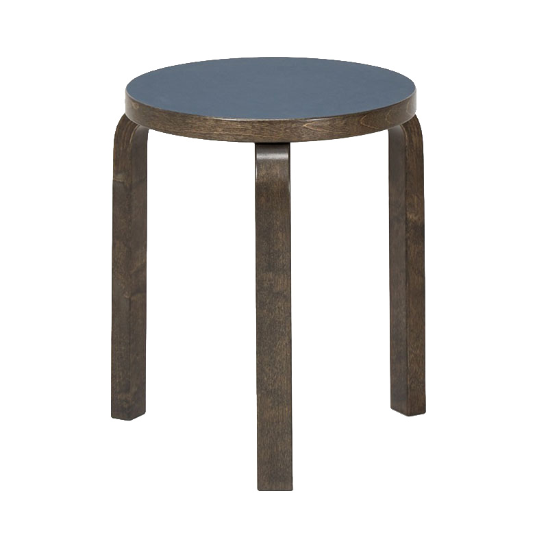 STOOL 60 SMOKE BLUE LINORIUM/STAINED GRAPHITE GREY