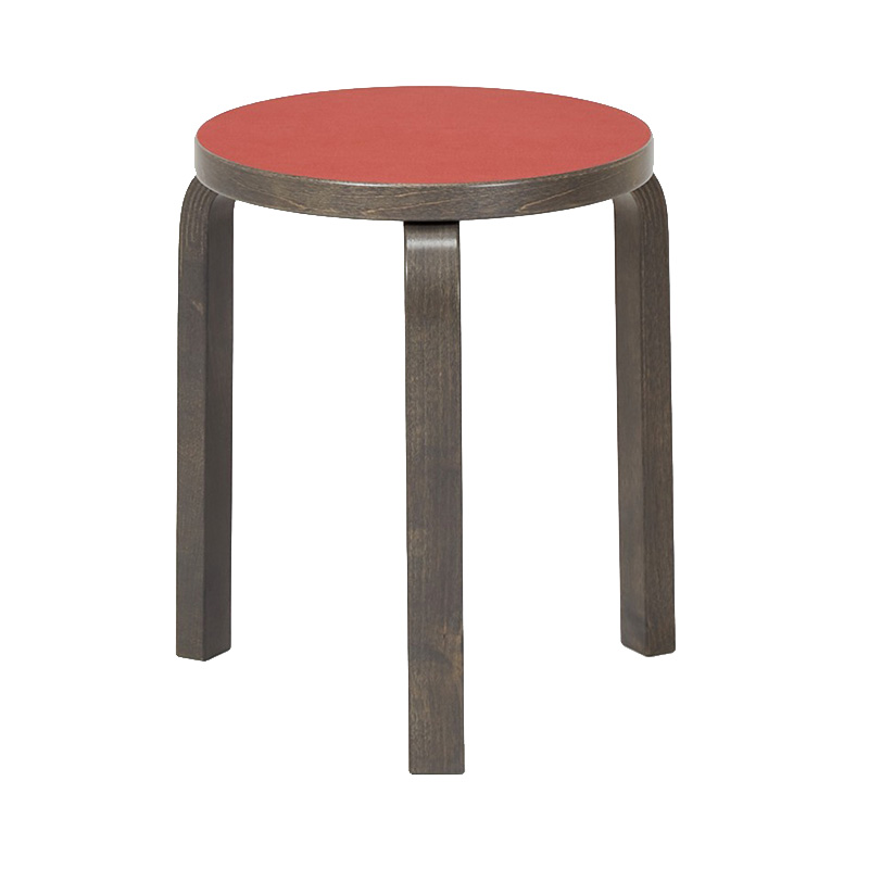 STOOL 60 RED LINORIUM/STAINED GRAPHITE GREY