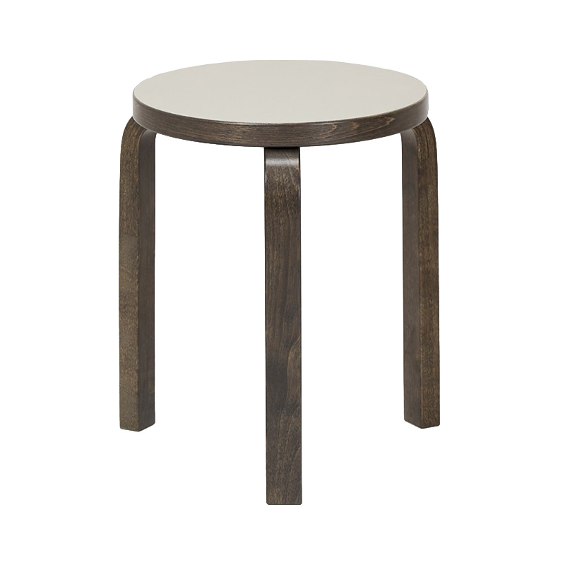 STOOL 60 LIGHT GREY LINORIUM/STAINED GRAPHITE GREY