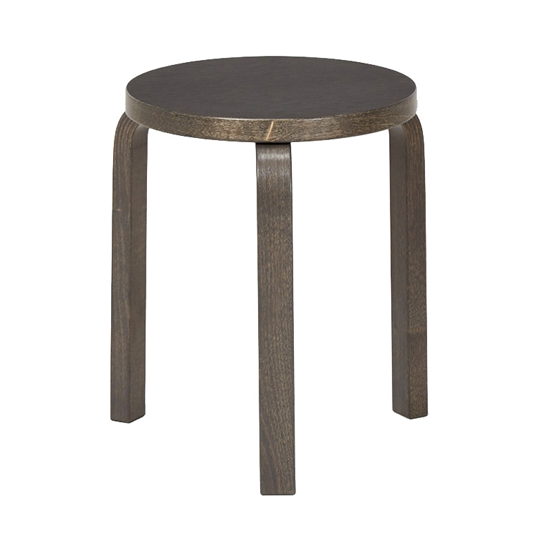STOOL 60 BLACK LINORIUM/STAINED GRAPHITE GREY