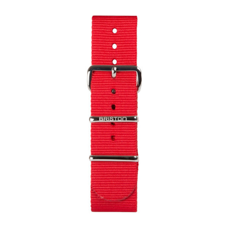 NATO STRAPS20 POLISHED STEEL RED SILVER