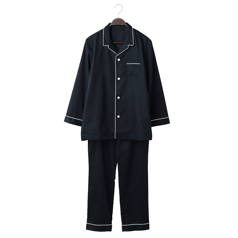 ORIGINAL COTTON SATIN PYJAMA L NAVY