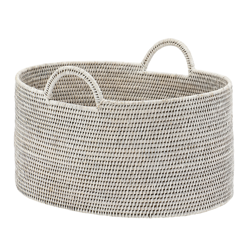 BAOLGI/OVAL BASKETS WITH HANDLES WHITE L