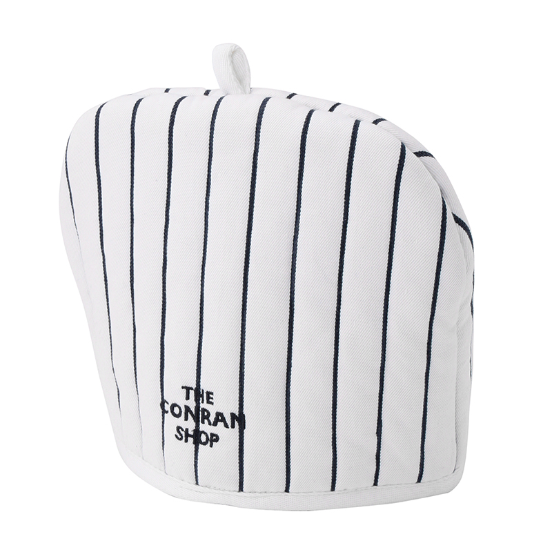 BUTCHER STRIPE TEA POT COVER WHITE