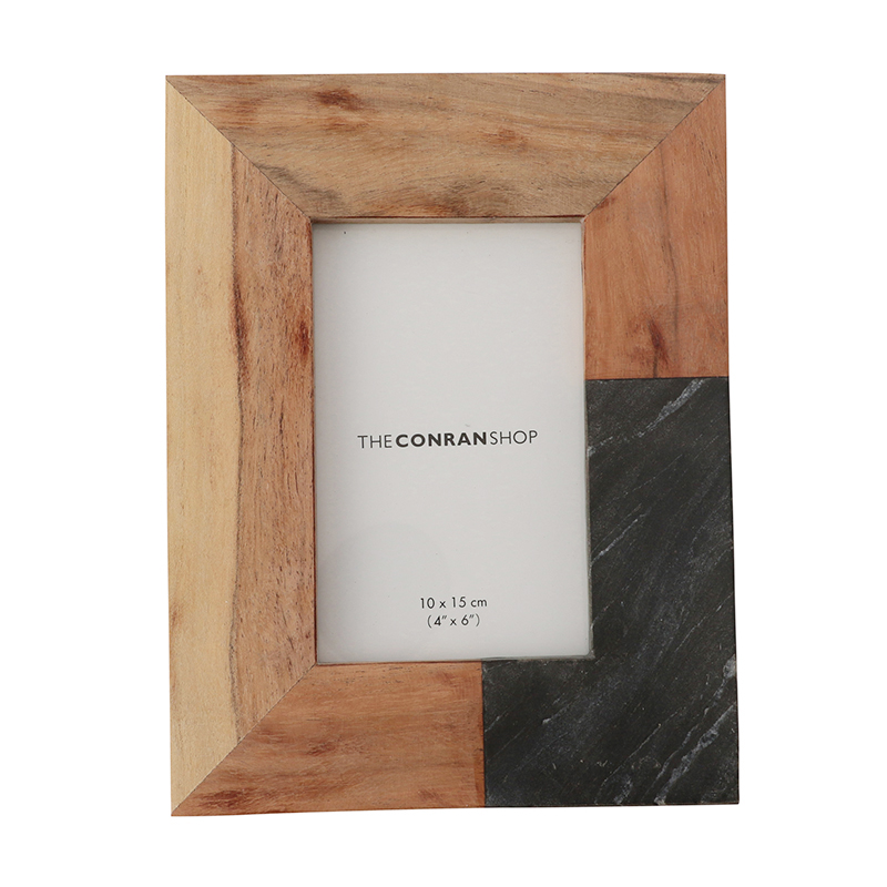 GRAY MARBLE&ACACIA WOOD PHOTO FRAME