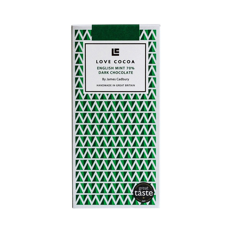 LOVE COCOA ENGLISH MINT 70% DARK CHOCOLA