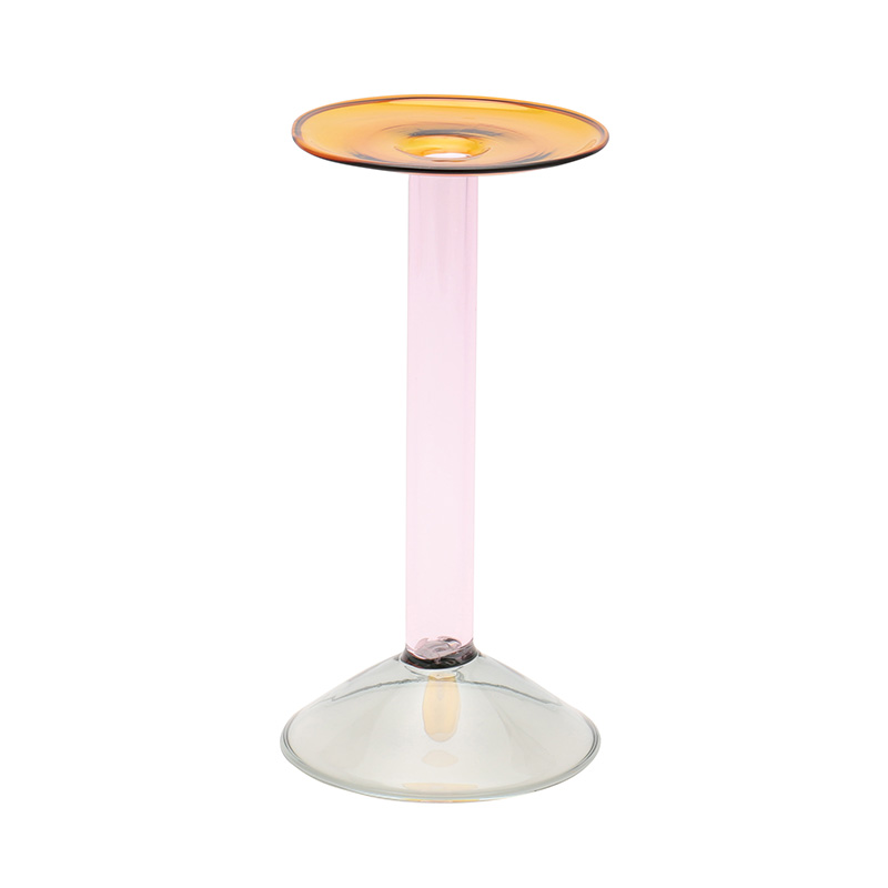 RAINBOW CANDLE HOLDER GY/PINK/AMBER 24CM