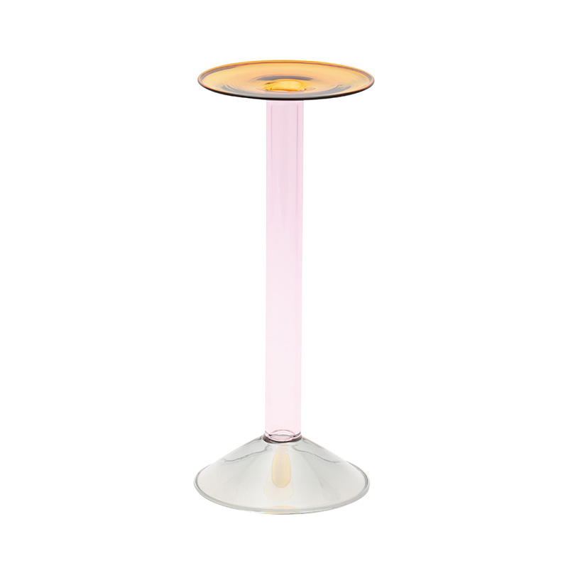 RAINBOW CANDLE HOLDER GY/PINK/AMBER 29CM