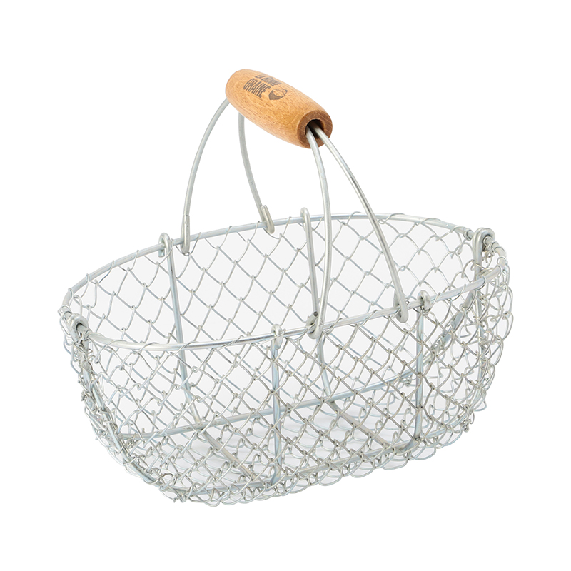 LA BONNE GRAINE GALVANIZED BASKET WOODEN HANDLE 3L